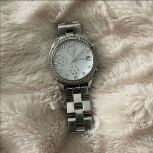 Marc Jacobs silver watch with diamonds